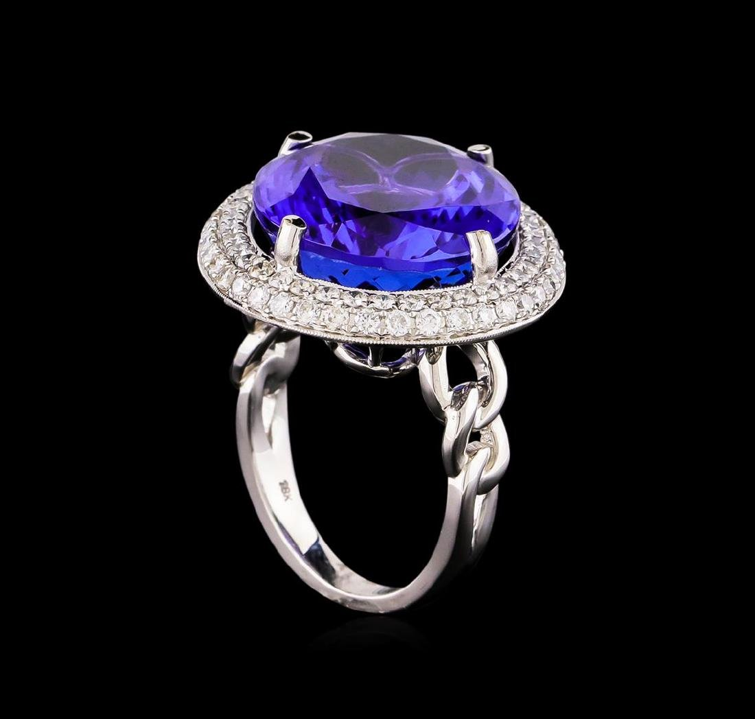 18KT White Gold GIA Certified 30.19 ctw Tanzanite and - 4