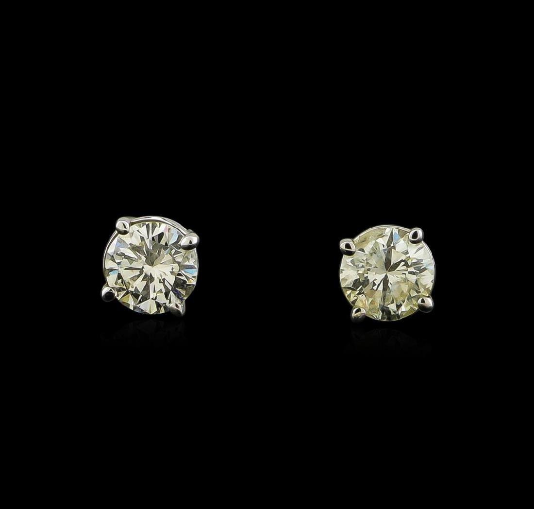 0.64 ctw Diamond Stud Earrings - 14KT White Gold