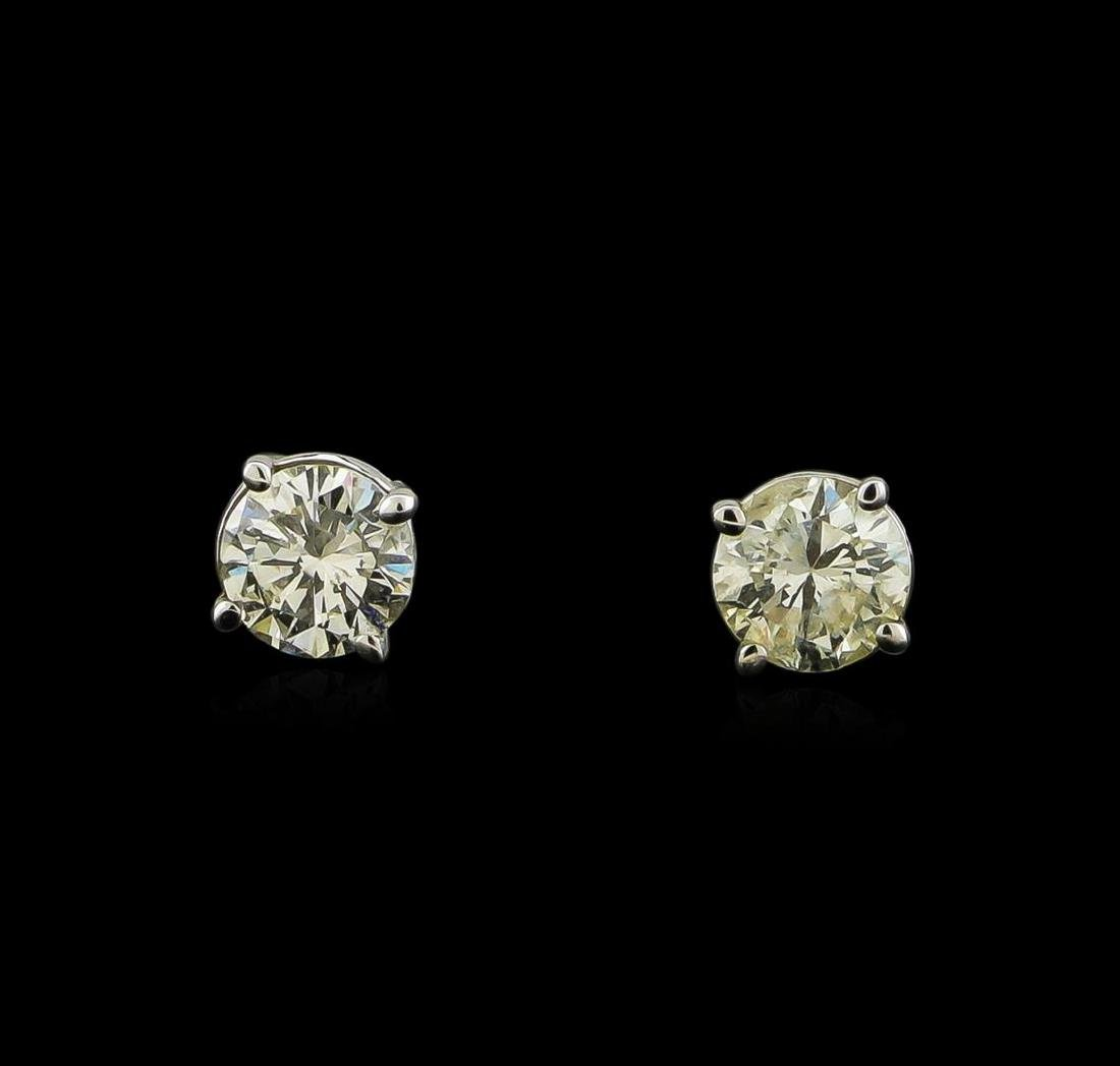 0.64 ctw Diamond Stud Earrings - 14KT White Gold