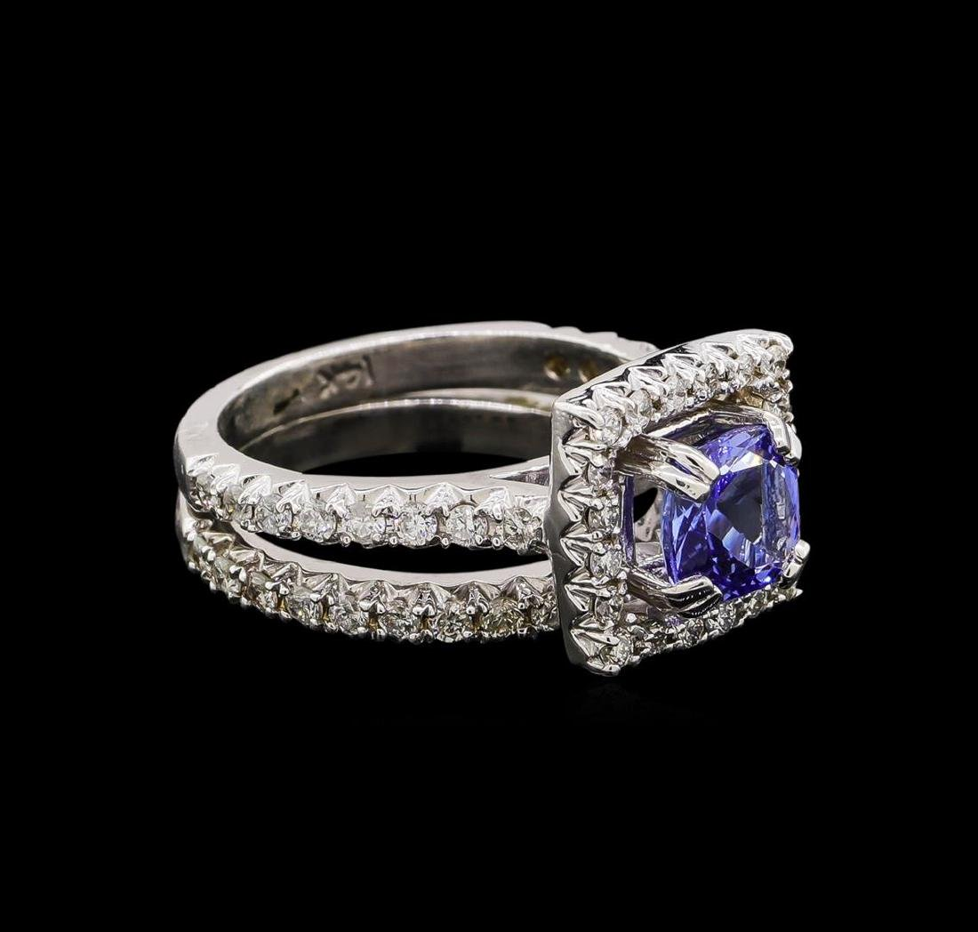 14KT White Gold 1.61 ctw Tanzanite and Diamond Wedding