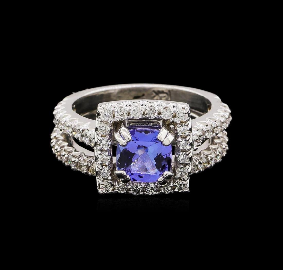 14KT White Gold 1.61 ctw Tanzanite and Diamond Wedding - 2