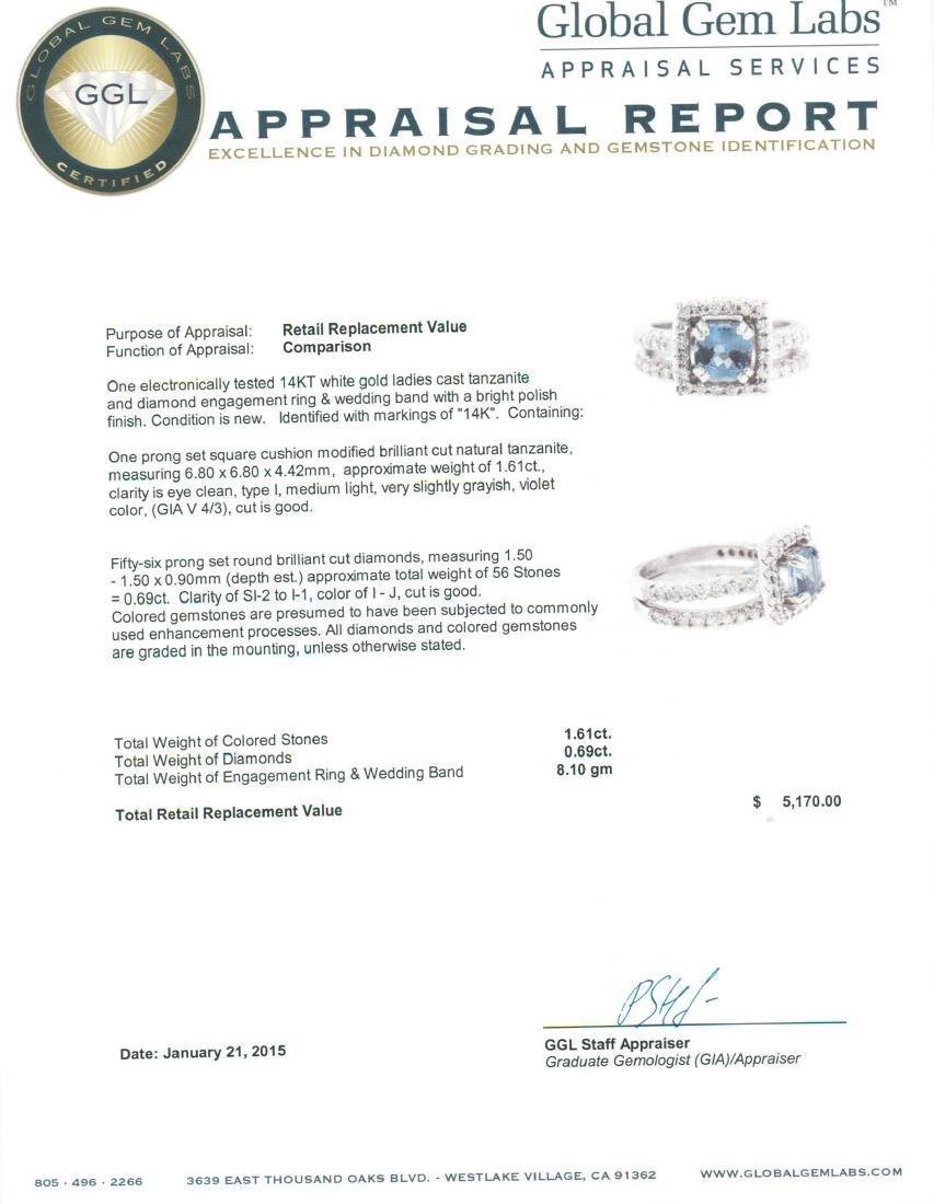 14KT White Gold 1.61 ctw Tanzanite and Diamond Wedding - 4