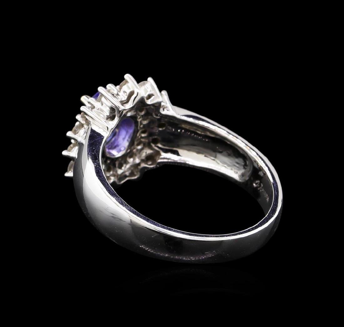 14KT White Gold 0.83 ctw Tanzanite and Diamond Ring - 3