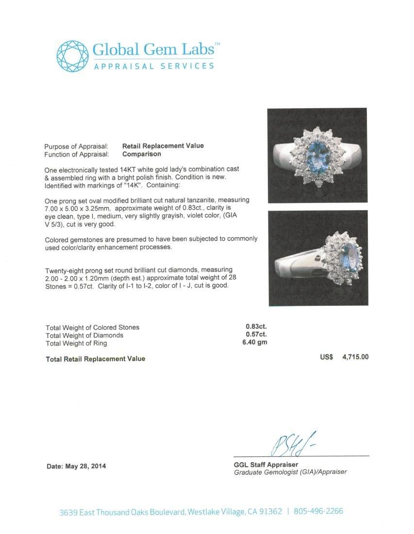 14KT White Gold 0.83 ctw Tanzanite and Diamond Ring - 5