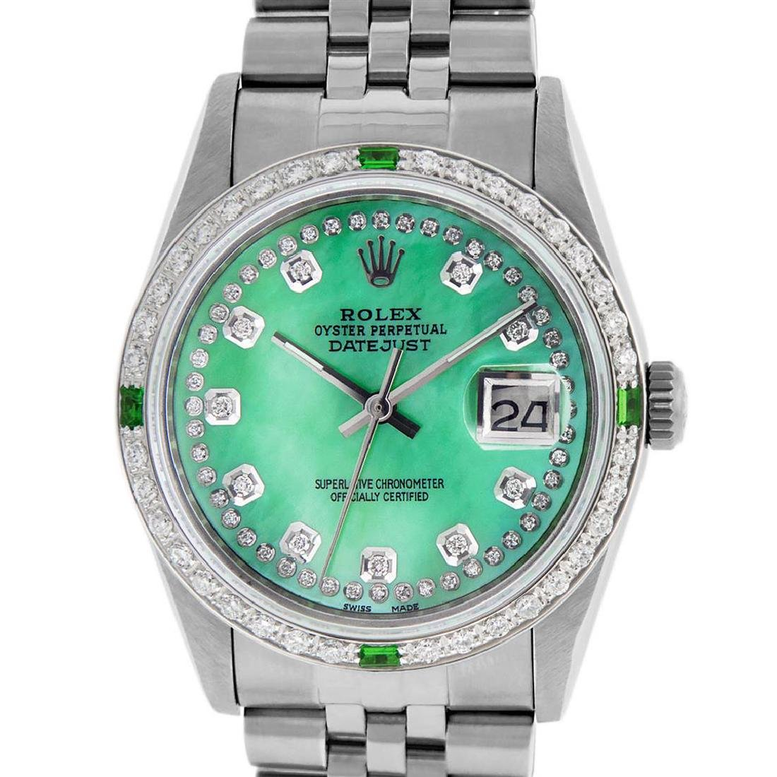 Rolex Mens Stainless Steel Green Mother Of Pearl