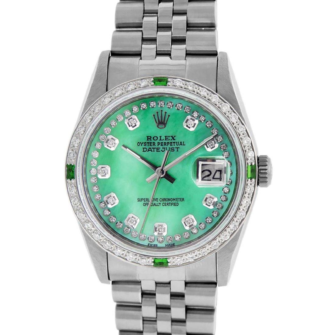 Rolex Mens Stainless Steel Green Mother Of Pearl - 2