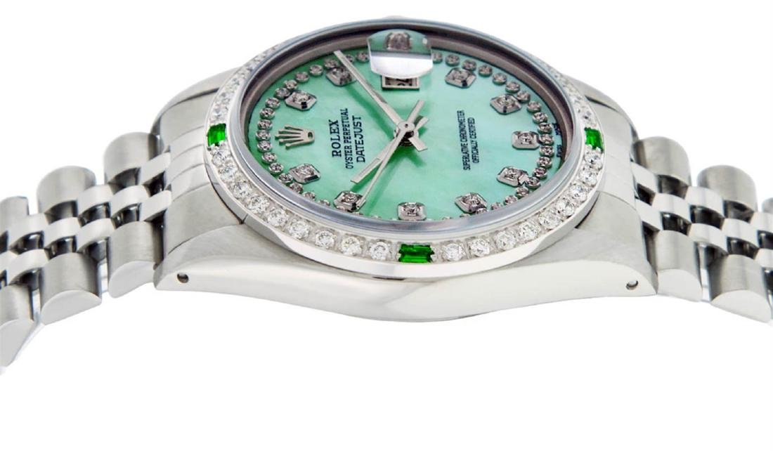 Rolex Mens Stainless Steel Green Mother Of Pearl - 4