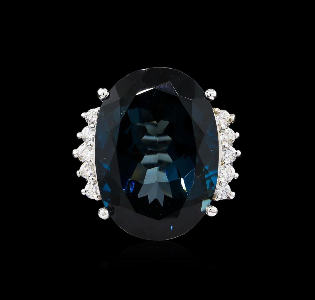 14KT White Gold 40.61 ctw Blue Topaz and Diamond Ring - 2
