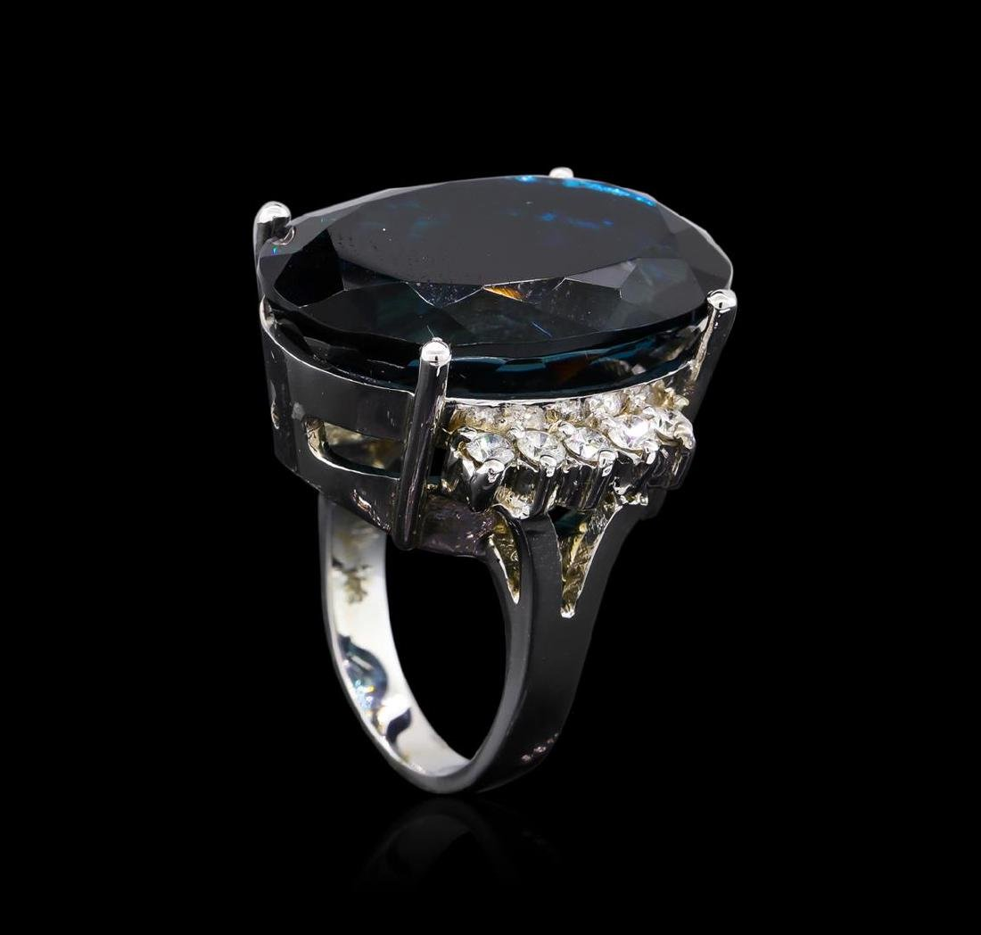 14KT White Gold 40.61 ctw Blue Topaz and Diamond Ring - 4