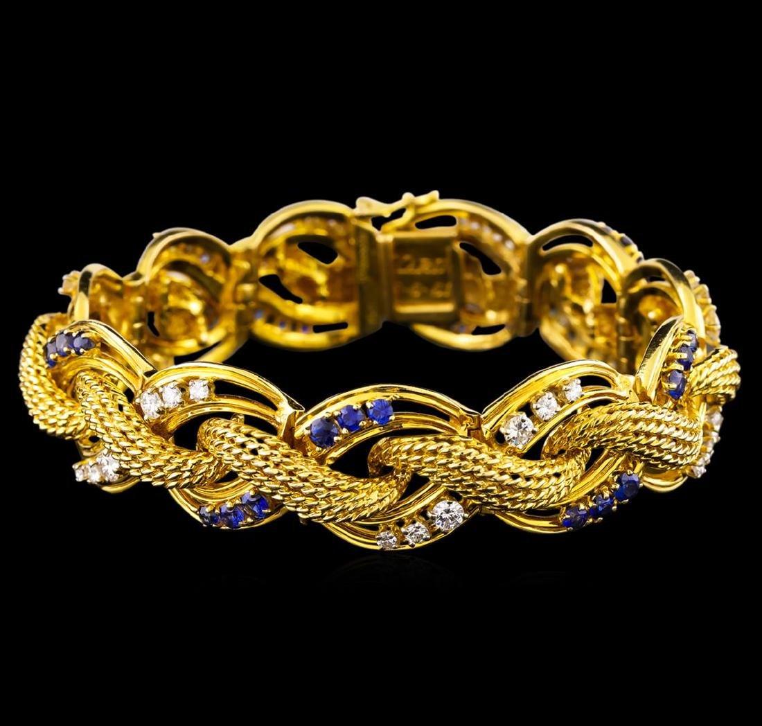 2.47 ctw Tanzanite and Diamond Bracelet - 14KT Yellow