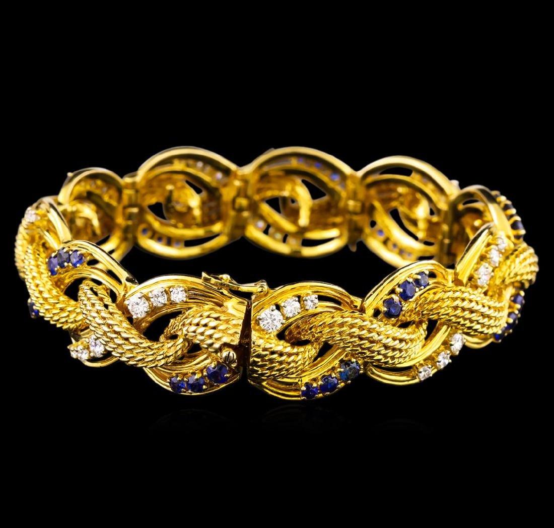 2.47 ctw Tanzanite and Diamond Bracelet - 14KT Yellow - 2