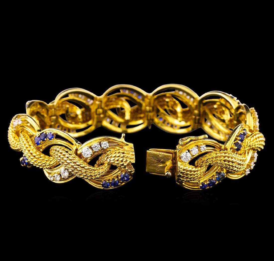 2.47 ctw Tanzanite and Diamond Bracelet - 14KT Yellow - 3