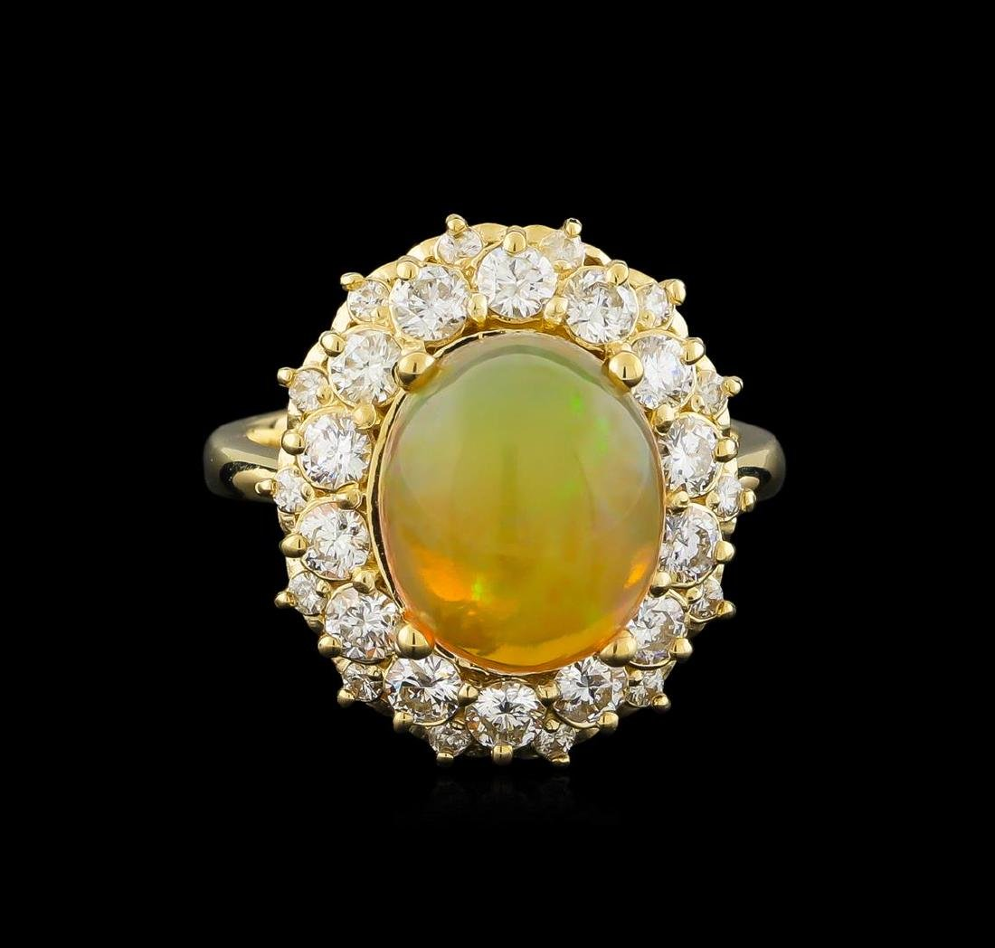 3.70 ctw Opal and Diamond Ring - 14KT Yellow Gold - 2