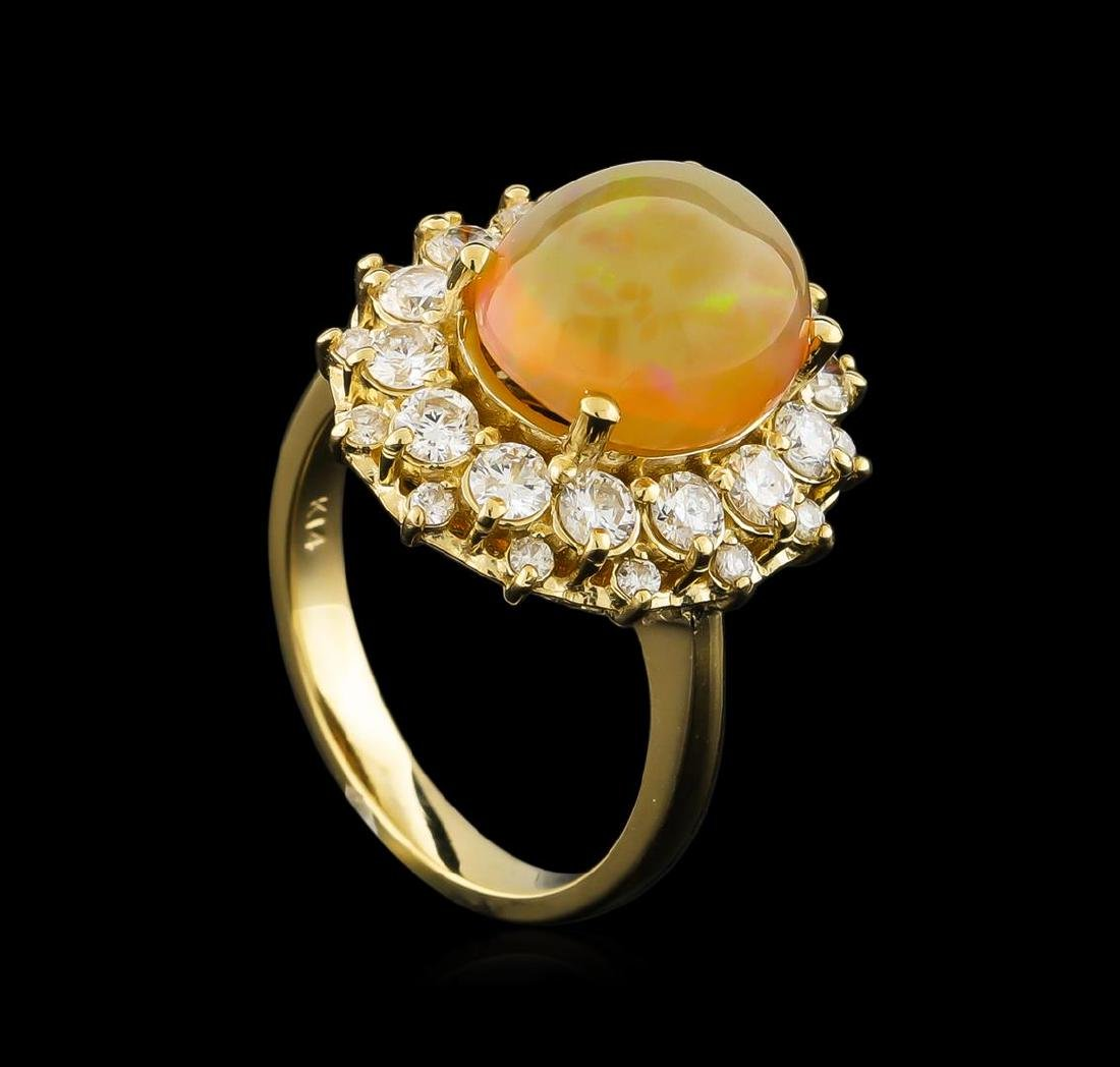 3.70 ctw Opal and Diamond Ring - 14KT Yellow Gold - 4