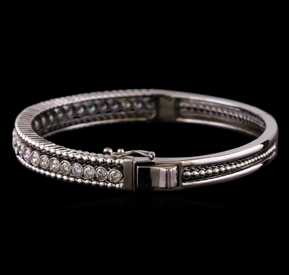 2.30 ctw Diamond Bangle Bracelet - 14KT White Gold - 2