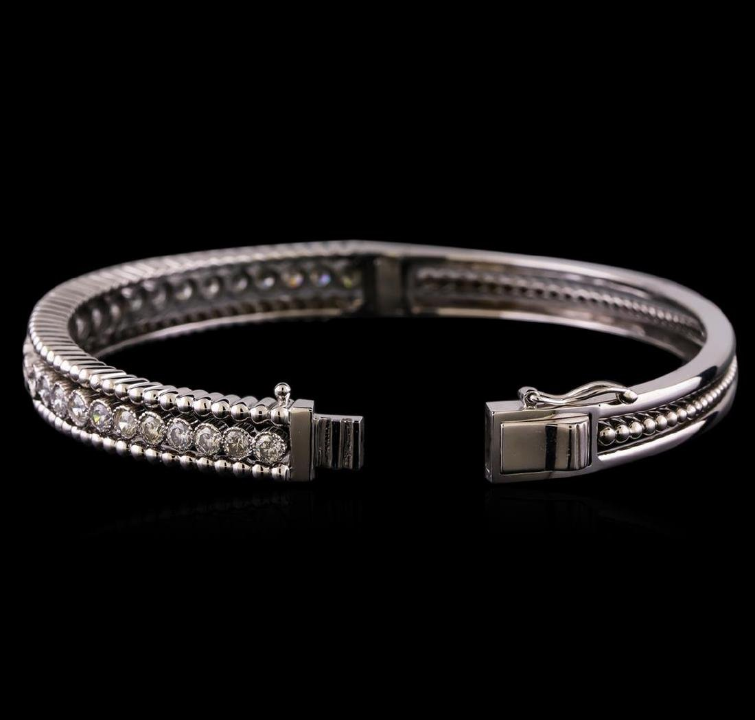 2.30 ctw Diamond Bangle Bracelet - 14KT White Gold - 3