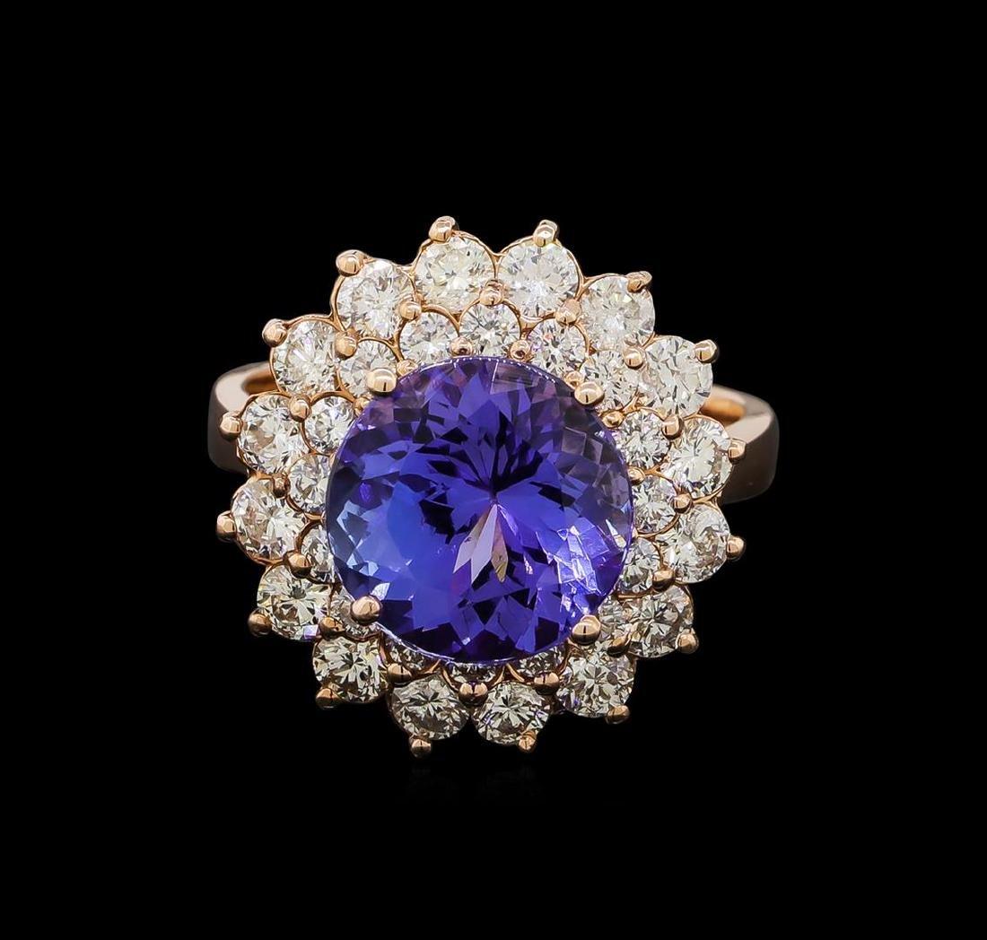 4.78 ctw Tanzanite and Diamond Ring - 14KT Rose Gold - 2