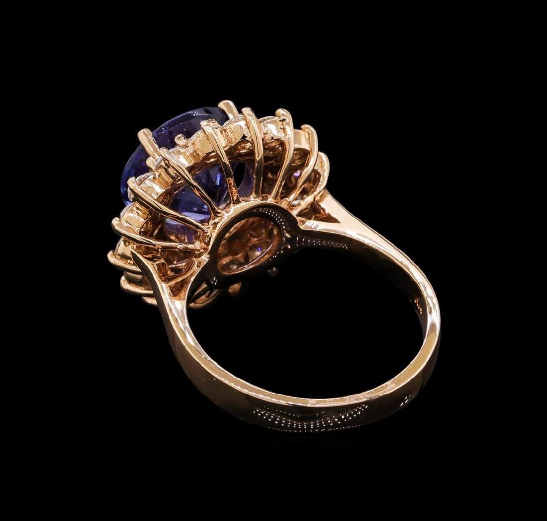 4.78 ctw Tanzanite and Diamond Ring - 14KT Rose Gold - 3