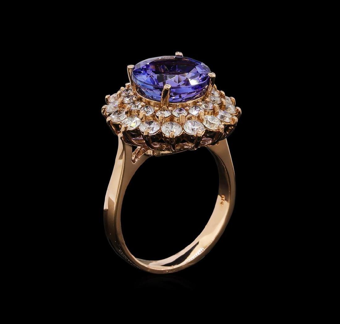 4.78 ctw Tanzanite and Diamond Ring - 14KT Rose Gold - 4