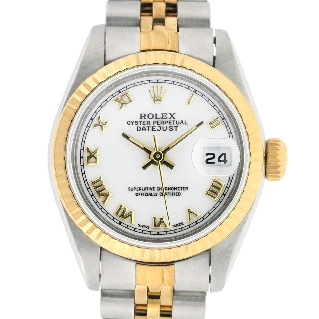 Rolex Ladies 2 Tone 14K White Roman 26MM Datejust