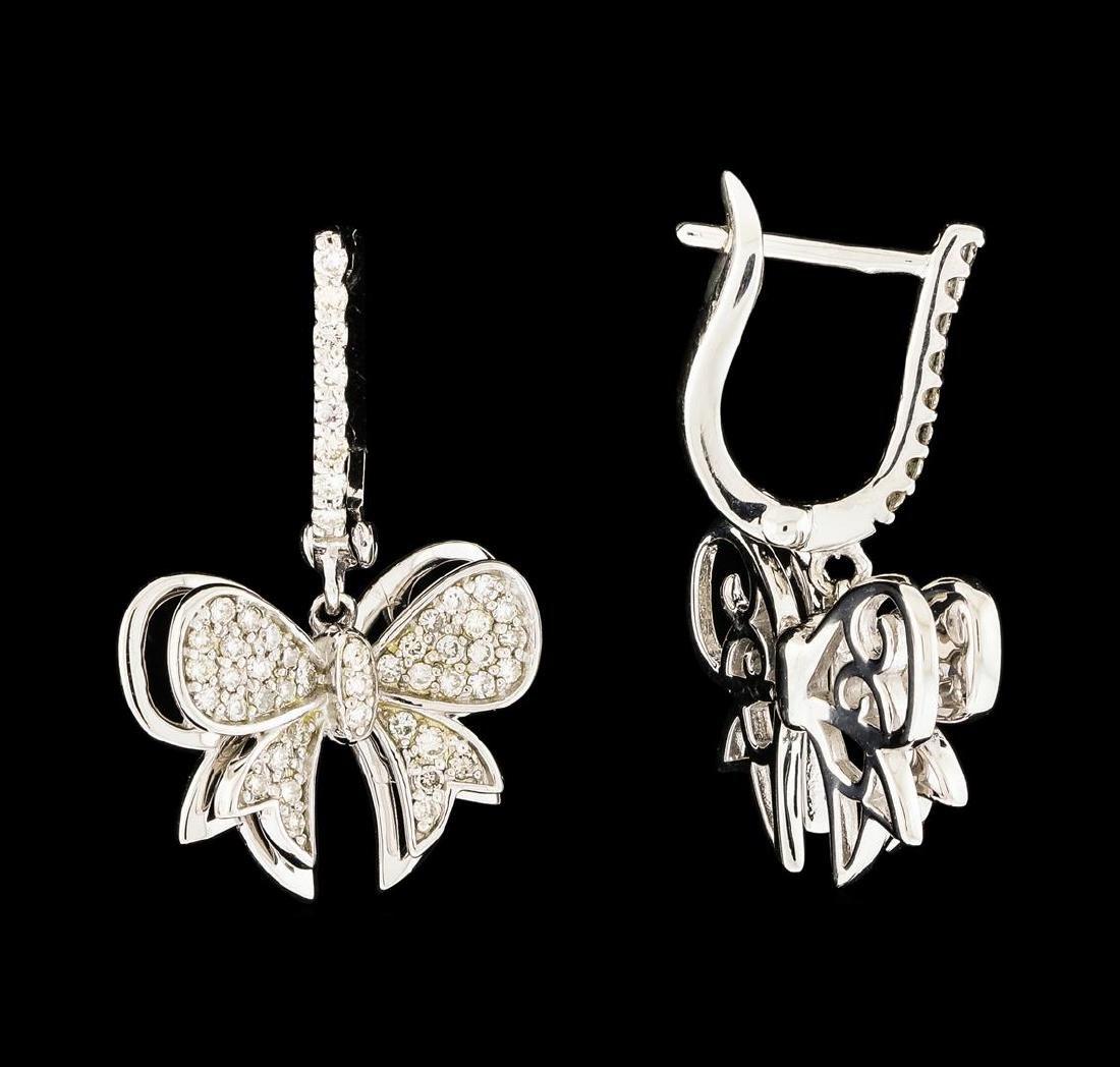 0.54 ctw Diamond Dangle Earrings - 14KT White Gold - 2