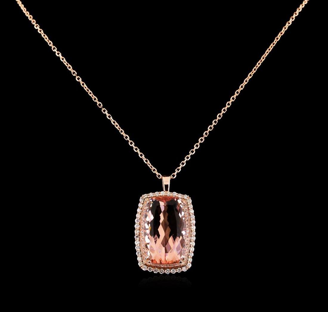 GIA Cert 21.91 ctw Morganite and Diamond Pendant With