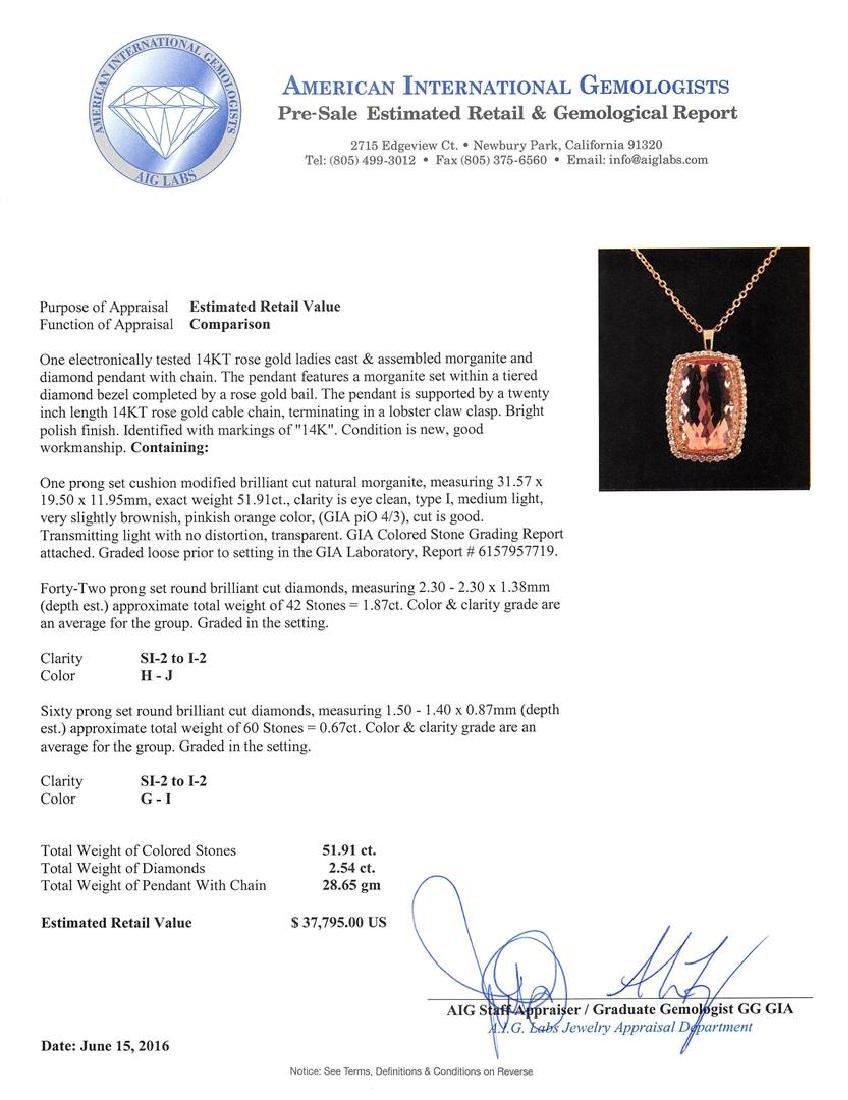 GIA Cert 21.91 ctw Morganite and Diamond Pendant With - 3