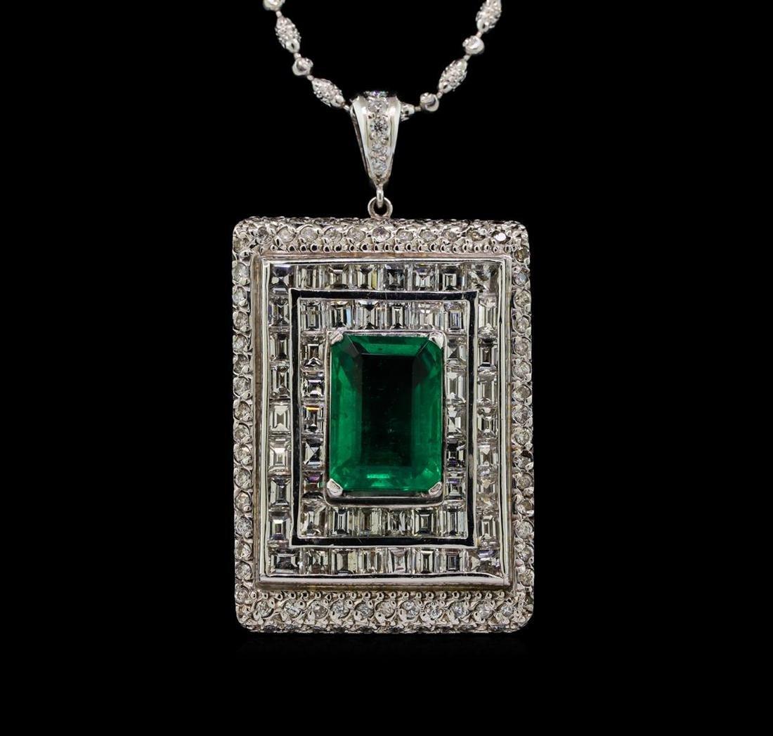 Platinum GIA Certified 6.98 ctw Emerald and Diamond