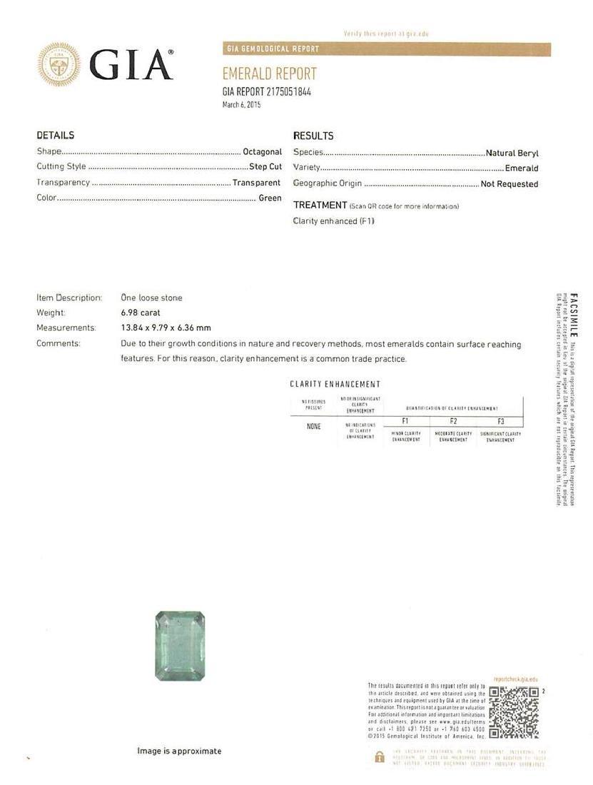 Platinum GIA Certified 6.98 ctw Emerald and Diamond - 4