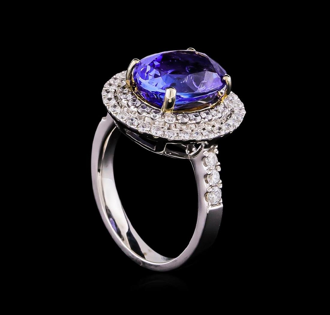 14KT Two-Tone 2.01 ctw Tanzanite and Diamond Ring - 4