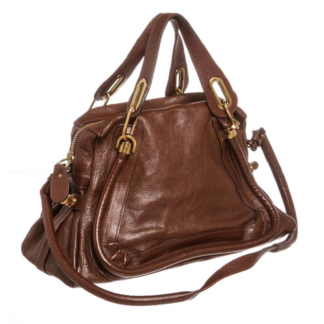 Chloe Brown Leather Paraty Medium Satchel Handbag - 2