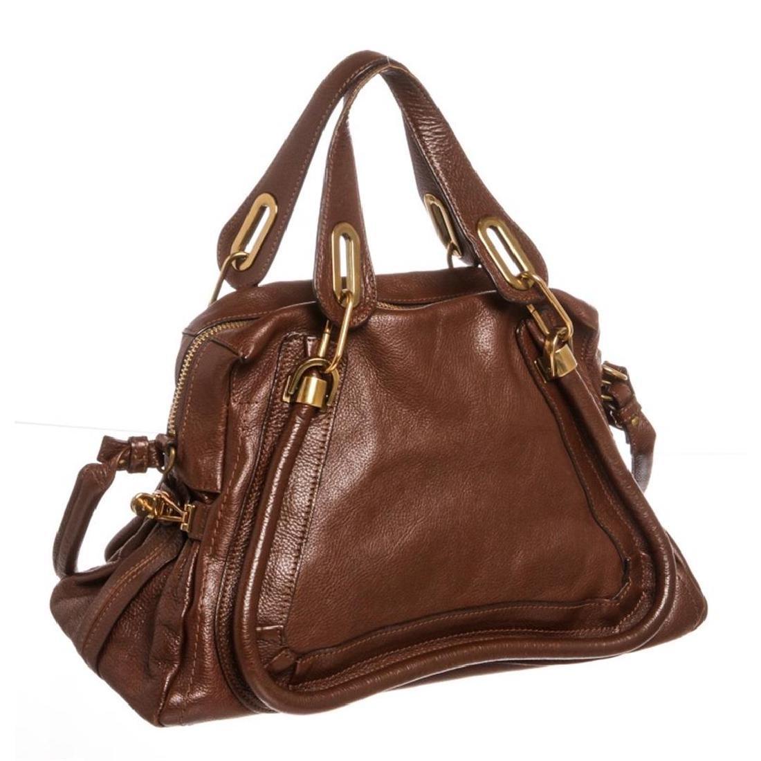Chloe Brown Leather Paraty Medium Satchel Handbag - 3