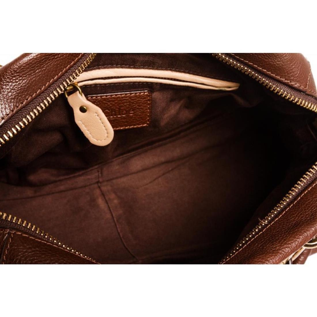 Chloe Brown Leather Paraty Medium Satchel Handbag - 5