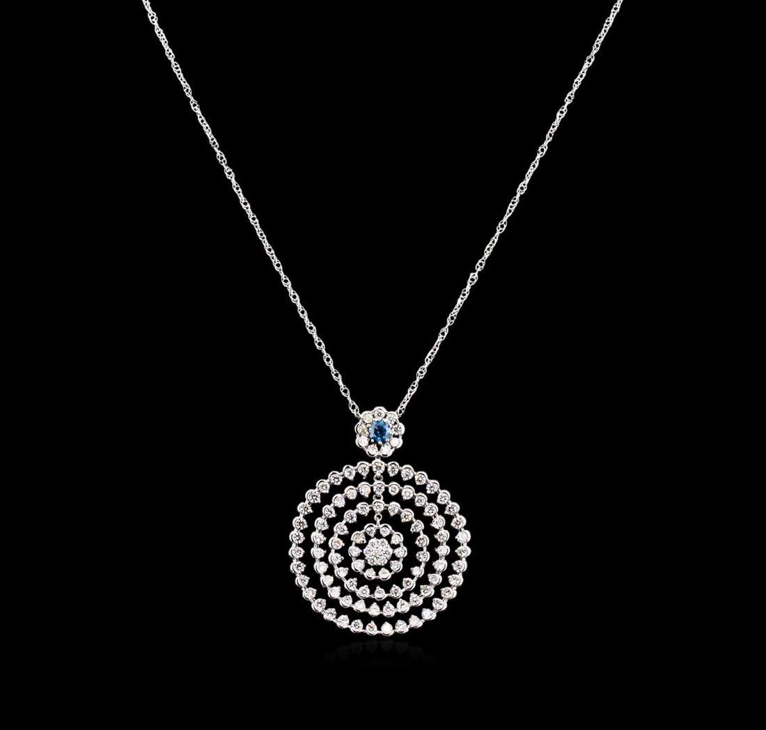 5.32 ctw Diamond Pendant With Chain - 14KT White Gold - 2