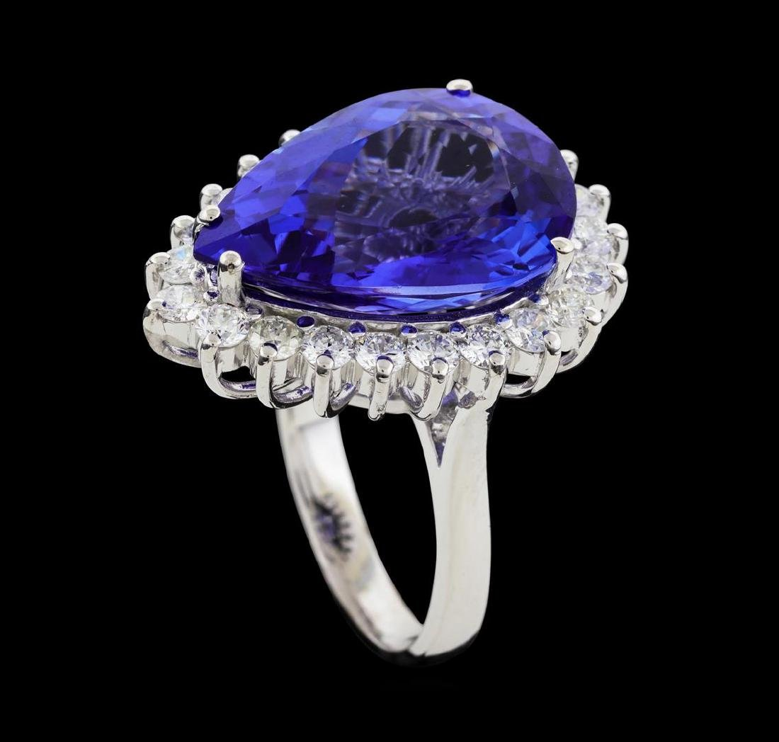 12.77 ctw Tanzanite and Diamond Ring - 14KT White Gold - 4