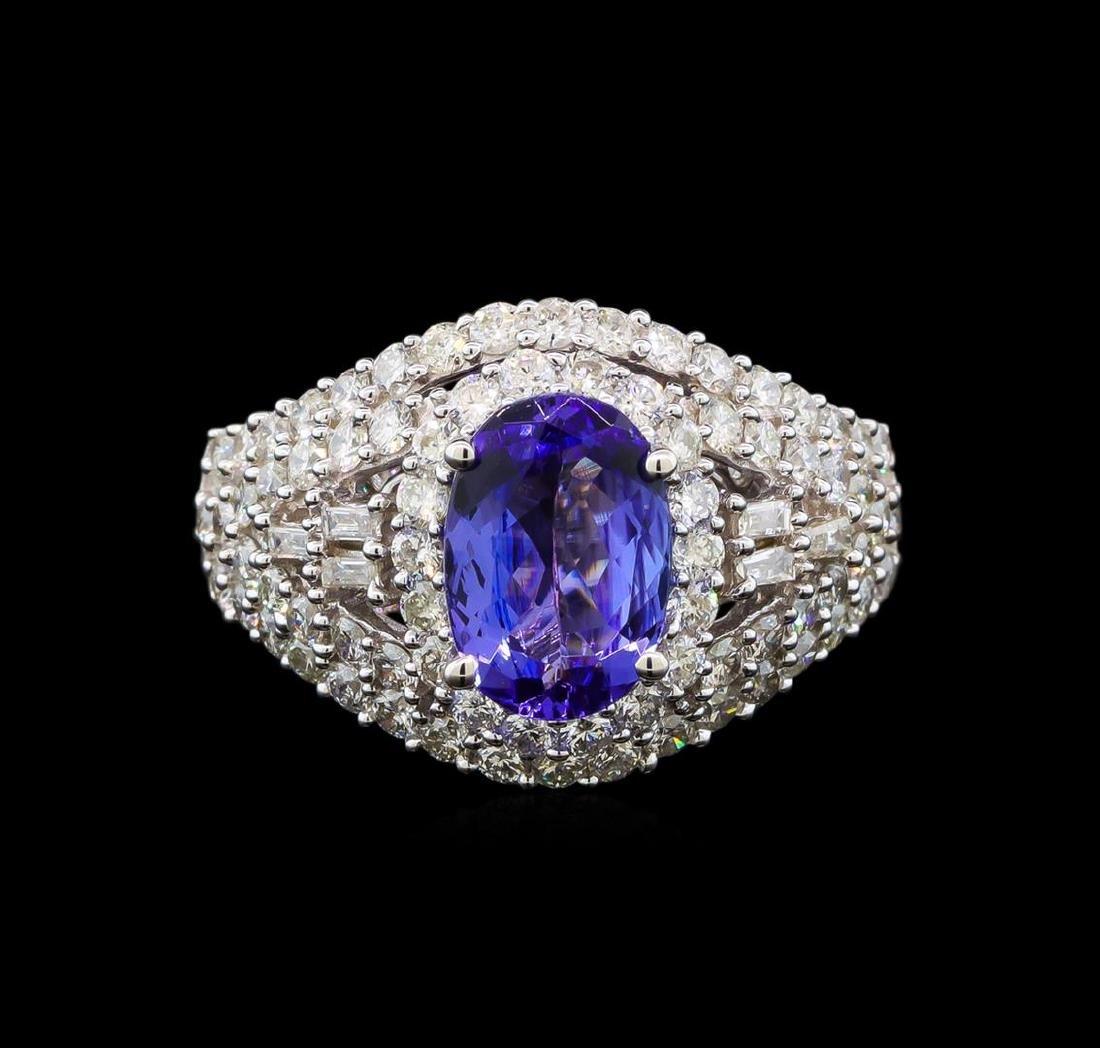 14KT White Gold 1.50 ctw Tanzanite and Diamond Ring - 2