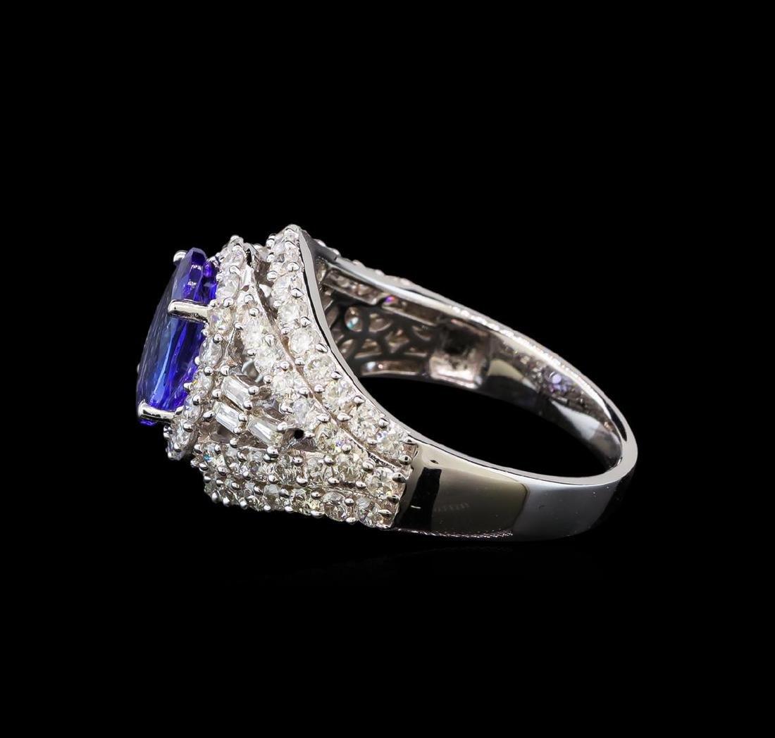 14KT White Gold 1.50 ctw Tanzanite and Diamond Ring - 3