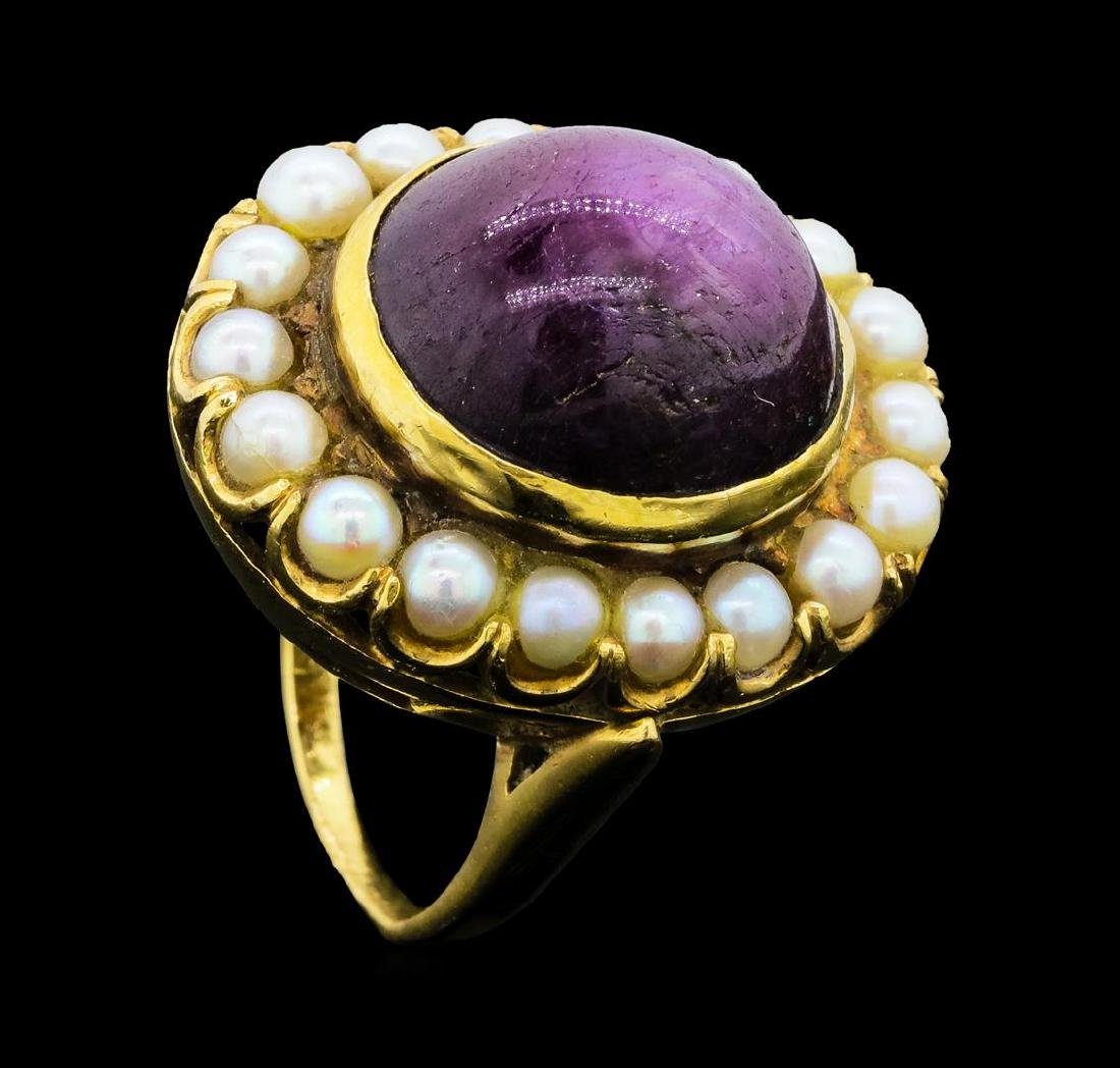 32.40 ctw Ruby and Pearl Ring - 14KT Yellow Gold - 4