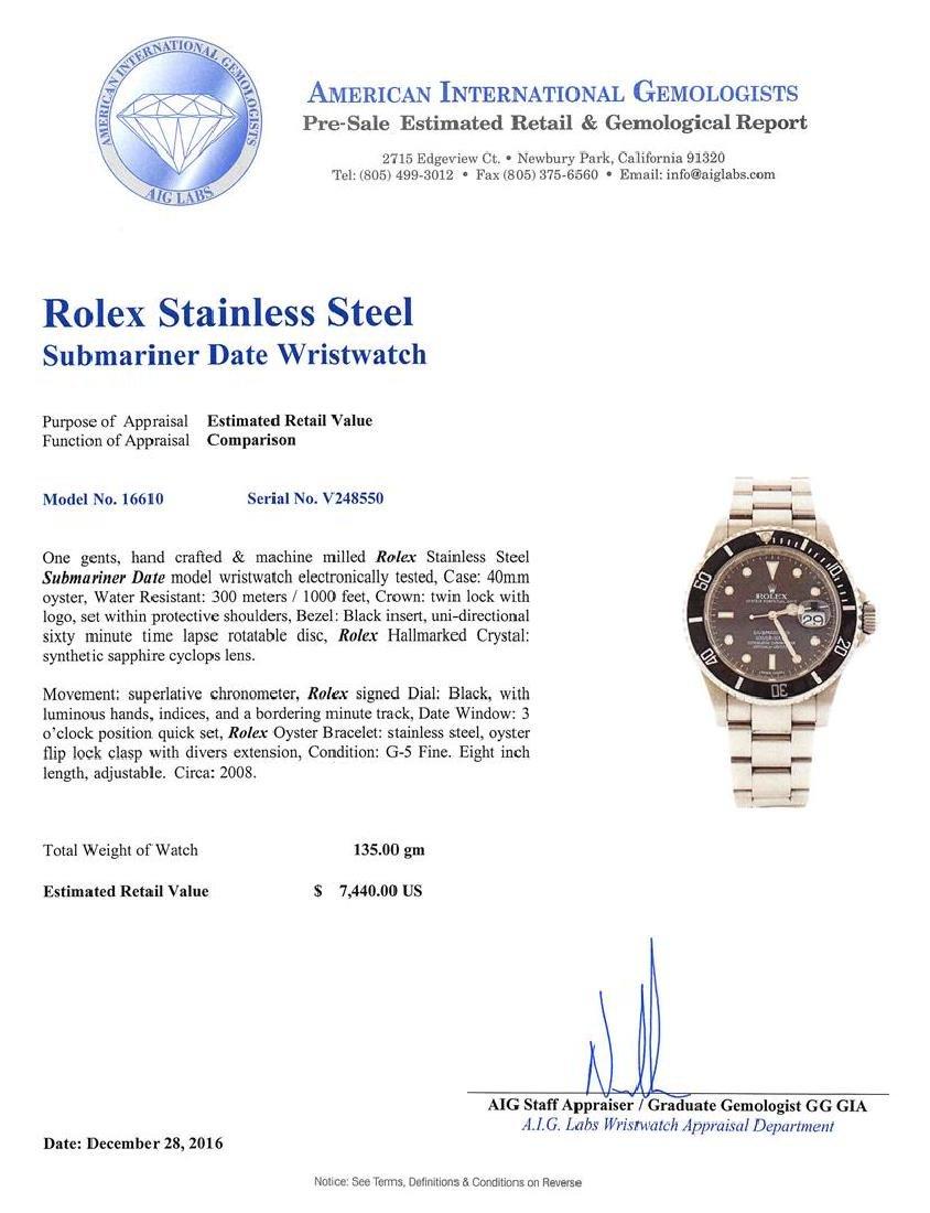 Rolex Stainless Steel Submariner Date Men's Watch - 5