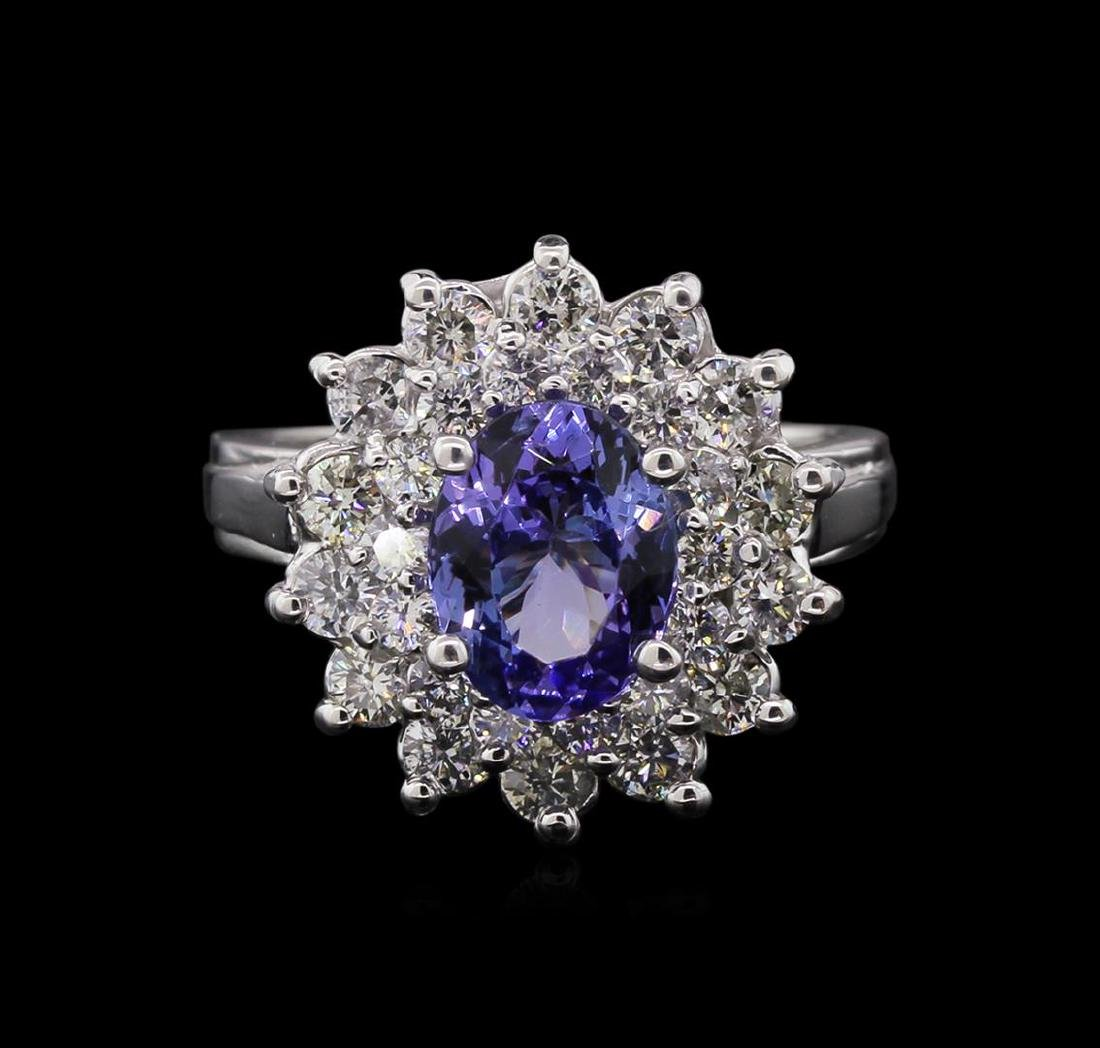 1.71 ctw Tanzanite and Diamond Ring - 14KT White Gold - 2