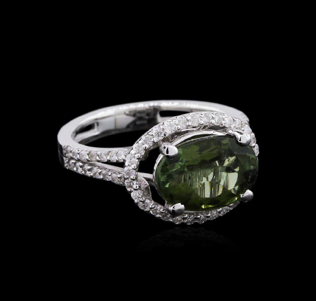 3.03 ctw Green Tourmaline and Diamond Ring - 14KT White