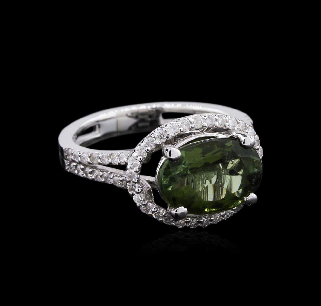 3.03 ctw Green Tourmaline and Diamond Ring - 14KT White