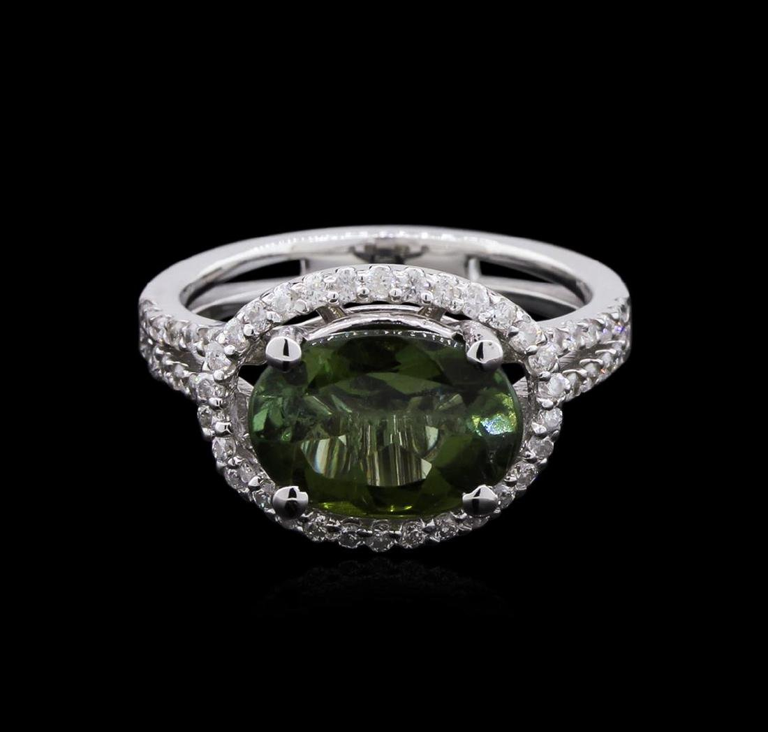3.03 ctw Green Tourmaline and Diamond Ring - 14KT White - 2
