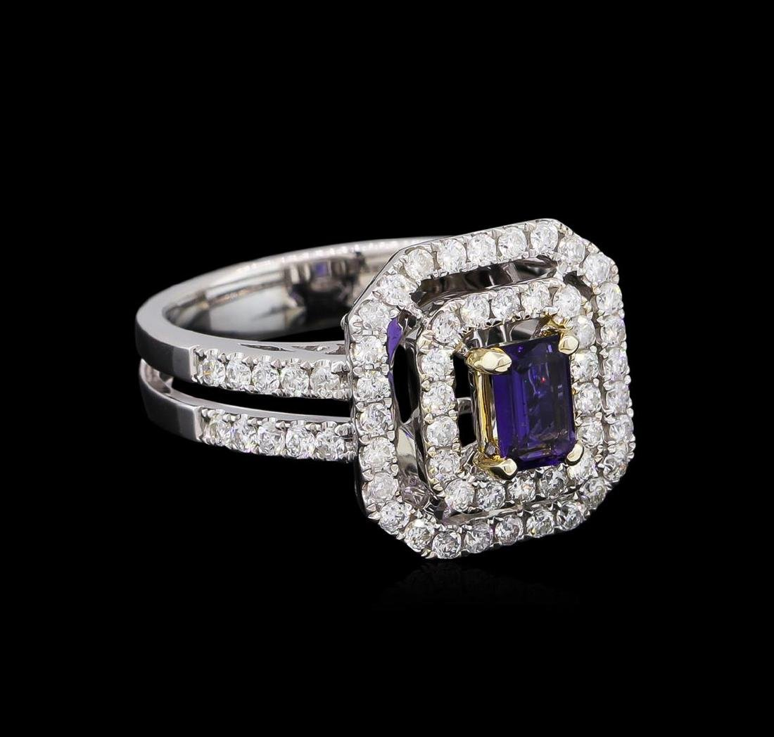 14KT White and Yellow Gold 0.40 ctw Tanzanite and