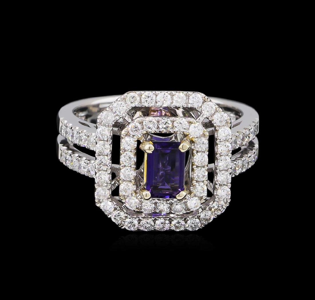 14KT White and Yellow Gold 0.40 ctw Tanzanite and - 2