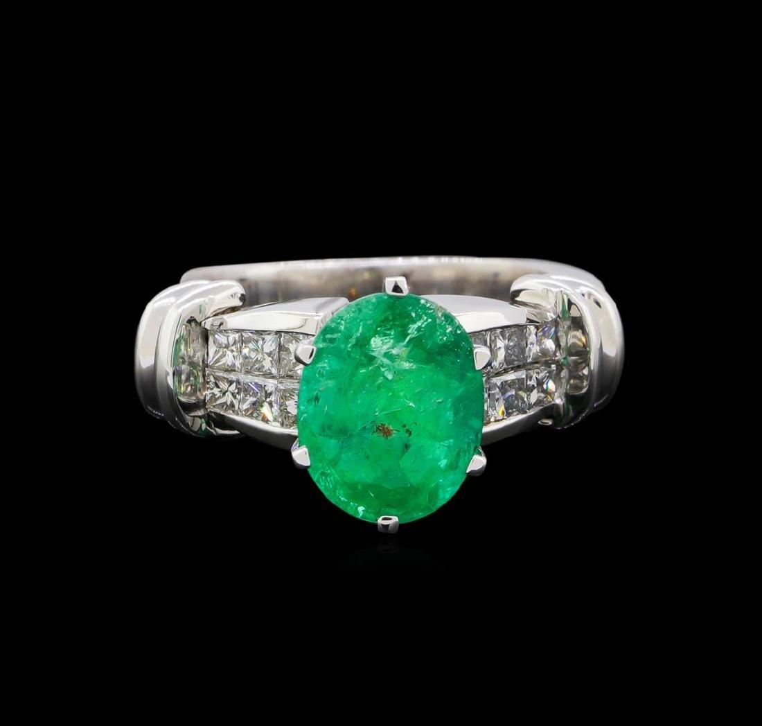 2.60 ctw Emerald and Diamond Ring - Platinum - 2