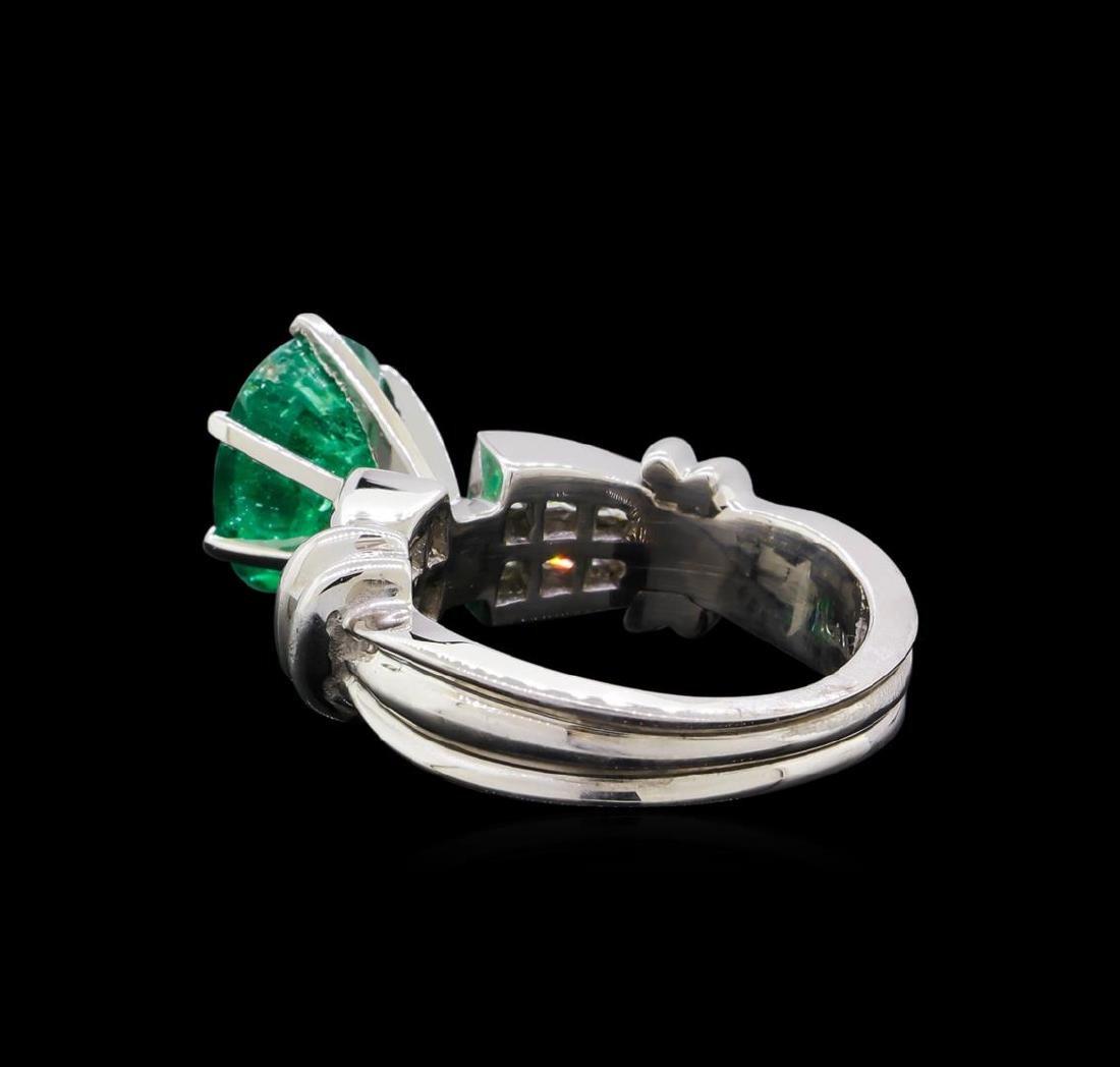 2.60 ctw Emerald and Diamond Ring - Platinum - 3
