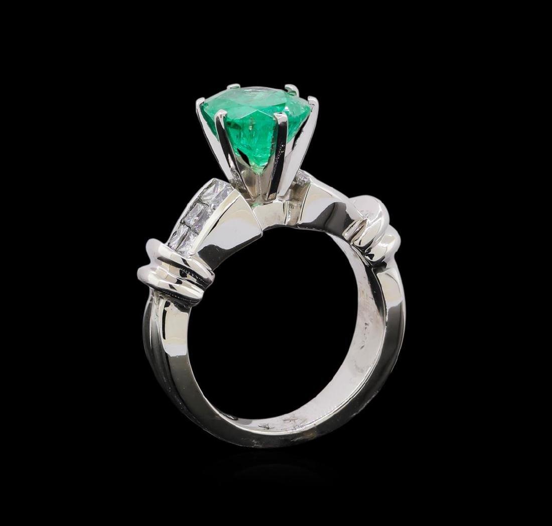 2.60 ctw Emerald and Diamond Ring - Platinum - 4