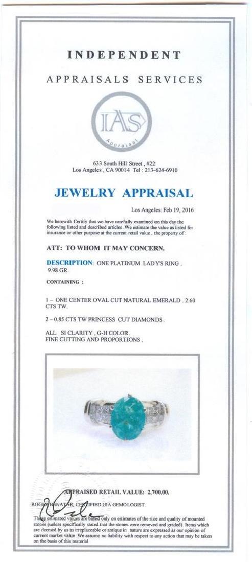 2.60 ctw Emerald and Diamond Ring - Platinum - 5