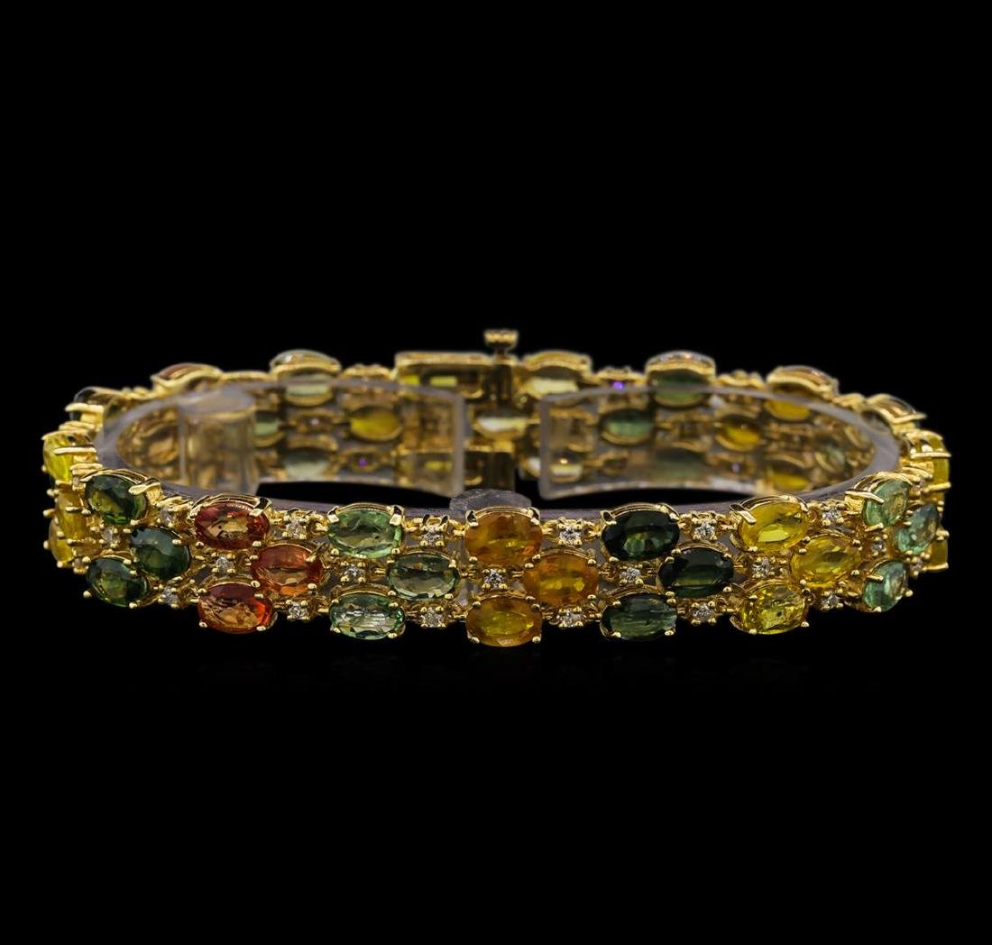 14KT Yellow Gold 28.17 ctw Multicolor Sapphire and